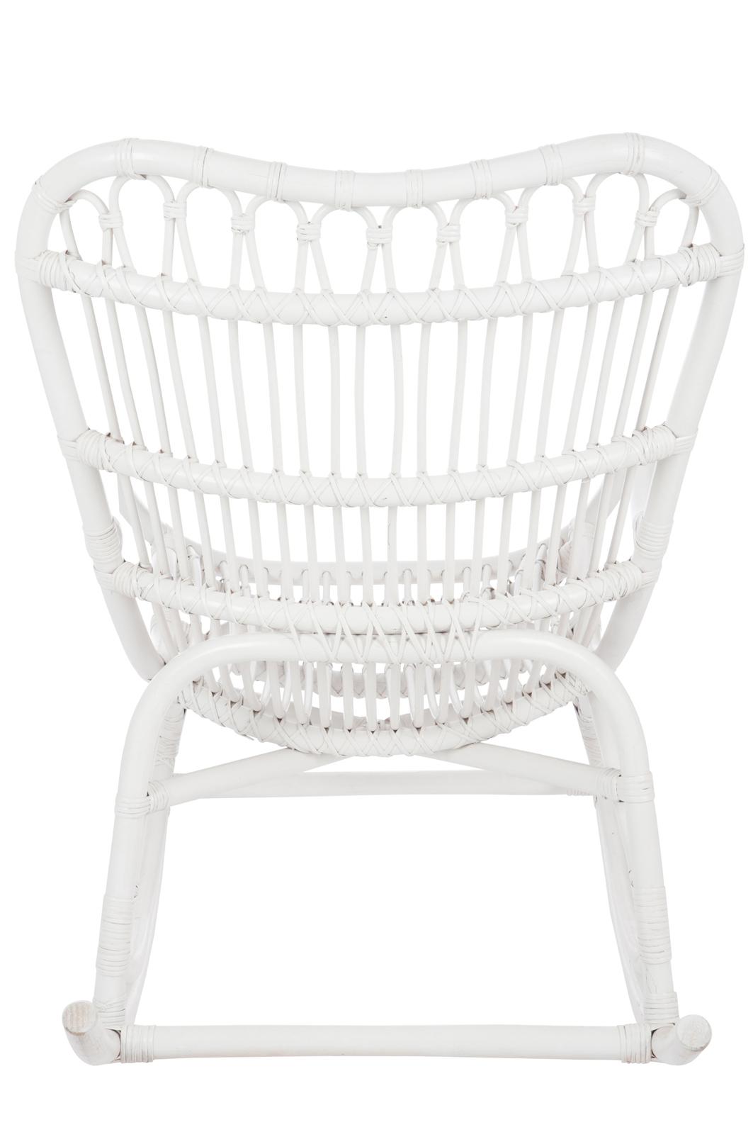 Fauteuil bascule bambou et rotin blanc jolipa 61391 magasin de meubles a - Fauteuil a bascule blanc ...