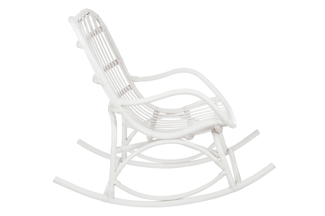 Fauteuil à Bascule Bambou Et Rotin Blanc Jolipa Magasin De - Fauteuil rocking chair