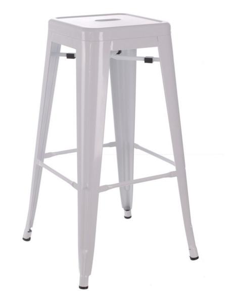 grand tabouret industriel blanc m tal esprit d 39 autrefois 52497 magasin de meubles deco. Black Bedroom Furniture Sets. Home Design Ideas