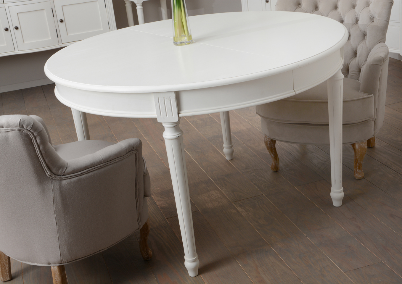 Table ronde agathe for Table ronde bois blanc avec rallonge