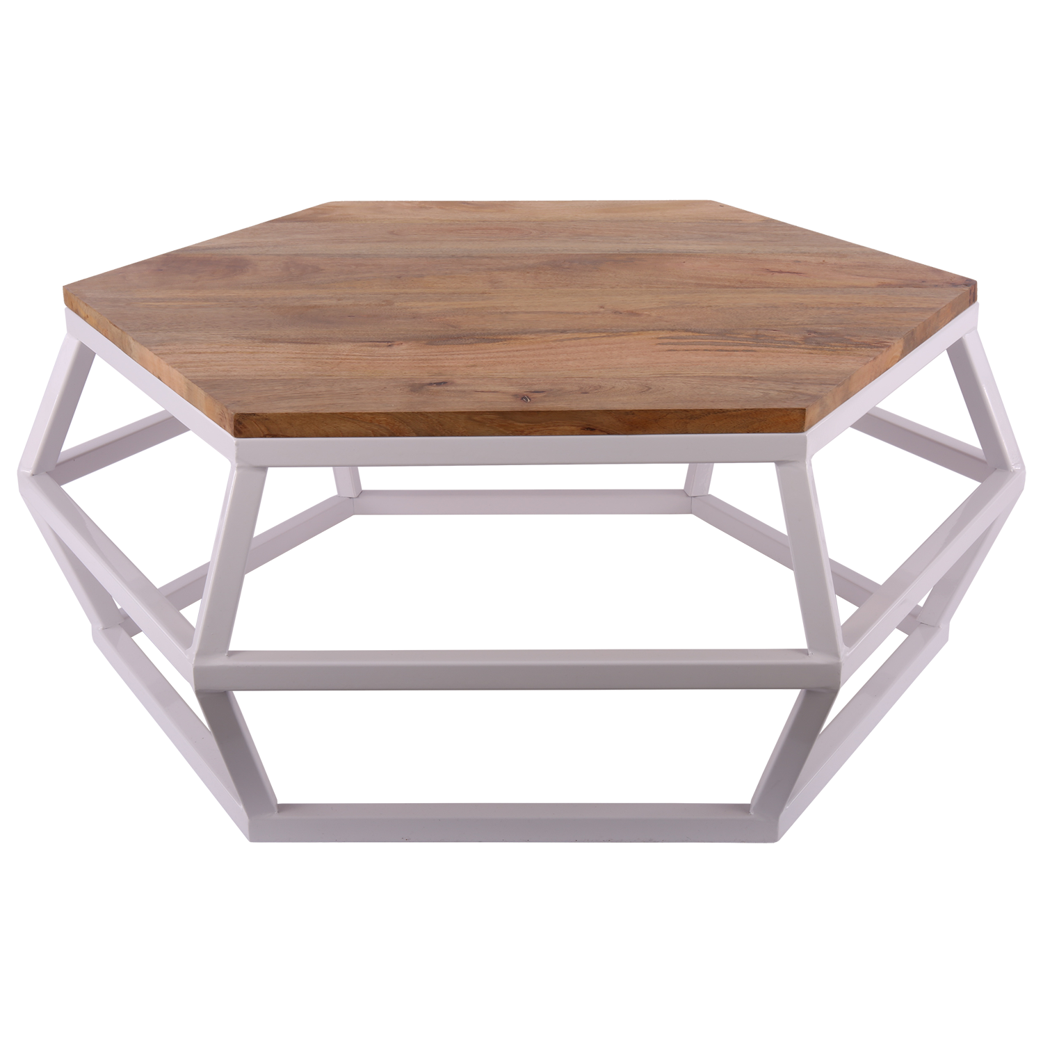 Table Basse Hexagonale Metal Blanc Et Bois