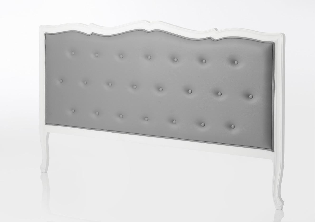 tete lit 180 murano blanche capitonn e en simili gris. Black Bedroom Furniture Sets. Home Design Ideas